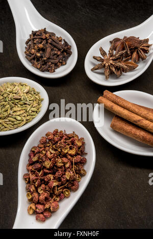 Five Spice Spoon Circle  with Szechuan Peppercorns in foreground - Stock Photo