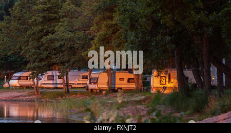 RAUMA, FINLAND ON JULY 01, 2013. View of Camping grounds along the seaside. Caravans and Campers by the seaside. - Stock Photo