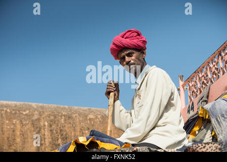 Elephant handler at Amber Fort, Jaipur - Stock Photo