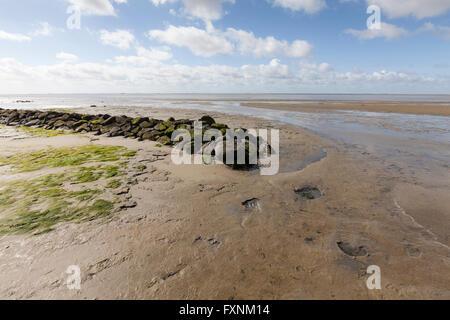 Beach, Lower Saxon Wadden Sea National Park, Wangerooge, East Frisian Island, East Frisia, Lower Saxony, Germany - Stock Photo