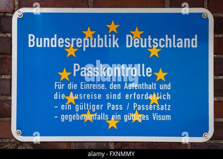 German border sign, Federal Republic of Germany passport control, Harlesiel, Carolinensiel, East Frisia, Lower Saxony, - Stock Photo