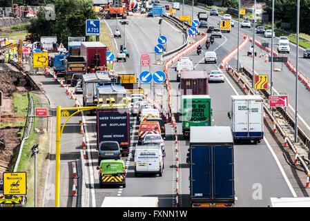 Average Speed Cameras in roadworks on M74 - Stock Photo