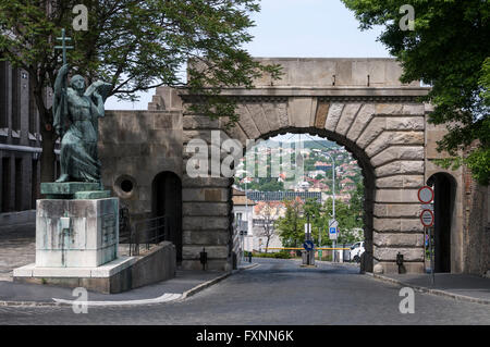 Vienna Gate is the only surviving  gate on Buda Castle Hill, Budapest, Hungary . - Stock Photo