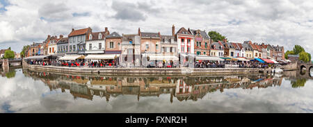 Panorama of Belu embankment with summer verandas of restaurants in Amiens, France - Stock Photo
