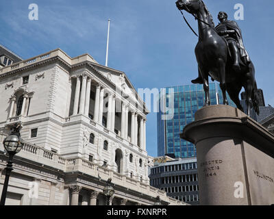 View of the Bank of England and Duke of Wellington statue in London - Stock Photo