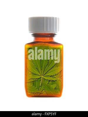 Pill bottle containing medicinal marijuana. - Stock Photo