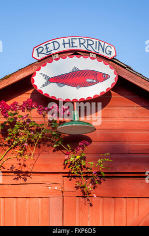 Fun, unique local travel sights: antique shop sign on an old barn, Vashon Island, Washington State, USA - Stock Photo