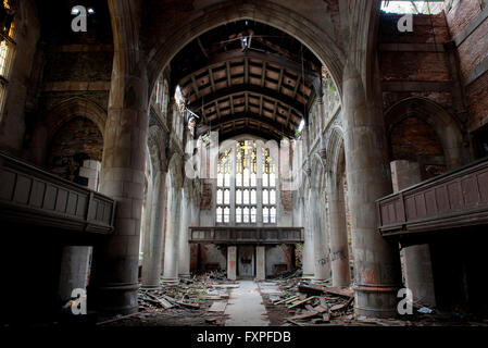 City Methodist Church, an abandoned gothic church in Gary, Indiana, USA - Stock Photo