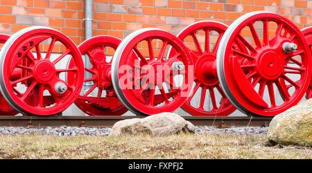 Wheels of a steam locomotive - Stock Photo