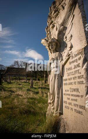 The graveyard of St. Peter's Church overlooking Morecambe Bay at Heysham, Lancashire, UK - Stock Photo