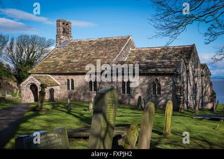 St. Peter's Church overlooking Morecambe Bay at Heysham, Lancashire, UK - Stock Photo
