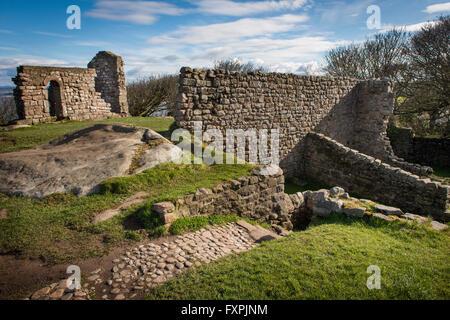 The ruins of St. Patrick's Chapel overlooking Morecambe Bay, Heysham, Lancashire, UK - Stock Photo