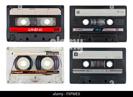 Cassette tapes isolated on white - Stock Photo