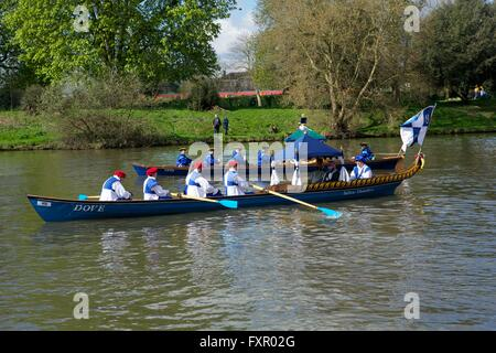 East Molesey, Surrey, United Kingdom. 17 April 2016.  The 'Dove' the official boat of the Tallow Chandlers - one - Stock Photo