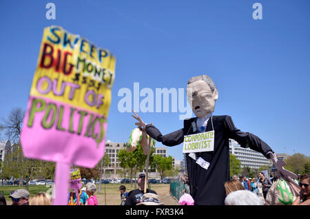Washington, DC, USA. 17th Apr, 2016. People take part in a rally against Money Politics at the west lawn of Capitol - Stock Photo