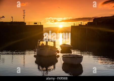 Mousehole Harbour, Cornwall, UK. 18th April 2016. UK Weather. Another sunny start to the day at Mousehole, as high - Stock Photo