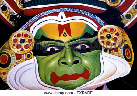 A poster of traditional Kathakali dance. This form of dance-drama is enacted in the courtyards of temples of Kerala,Southern - Stock Photo
