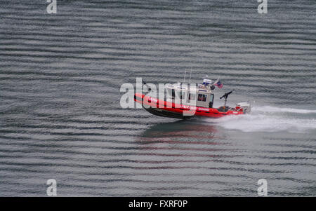 U.S. Coast Guard Defender-class response boat number 25759, built by SAFE Boats International, patrolling on calm - Stock Photo