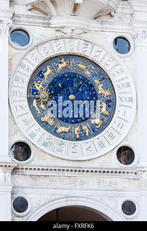 Detail of the Torre dell'orologio - Astonomical and zodiac clock in San Marco square Venice. - Stock Photo