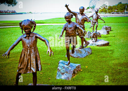 Bronze sculpture, 'Follow the Leader' by W. Stanley Proctor in Ludington, Michigan, USA