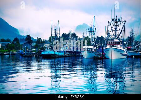 Fishing fleet in Crescent Harbor, Sitka, Alaska, USA - Stock Photo