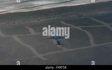 Aerial view, LAX, Los Angeles International Airport, runway, blasting jet, Los Angeles, Los Angeles County, California, - Stock Photo