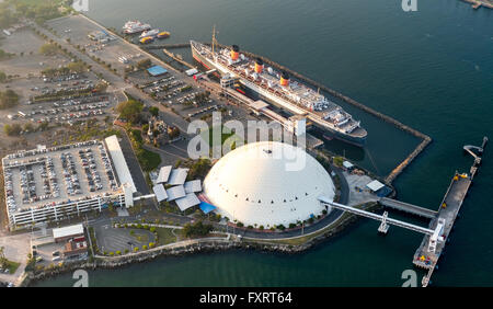 Aerial view, RMS Queen Mary, Ocean Liner, Queen Mary Hotel in Long Beach Harbor, Long Beach, Los Angeles County, - Stock Photo