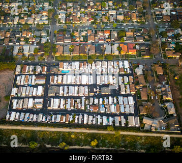 Aerial view, Mobile Home Residential Park, Oregon Avenue Brook Street, Commerce, Los Angeles County, California, - Stock Photo