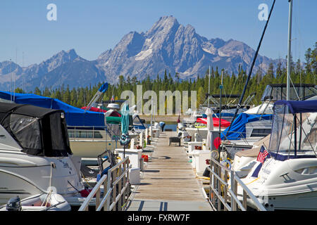 Colter Bay marina on Jackson Lake - Stock Photo