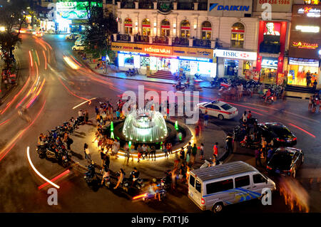Fountain in Ham Ca Map Crossroad in Hanoi, Vietnam - Stock Photo