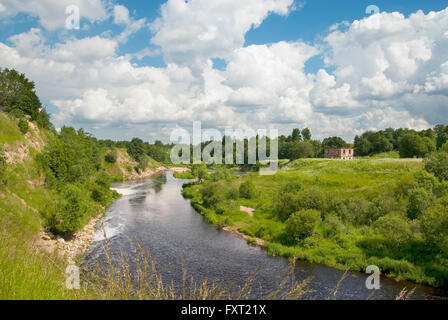 Summer landscape with a river in Leningrad Region. Russia - Stock Photo