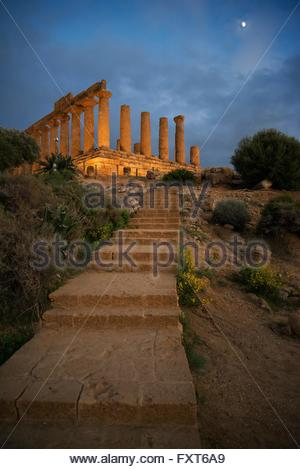 Stairway to Temple of Juno at dusk, Valley of the Temples, Agrigento, Sicily, Italy - Stock Photo