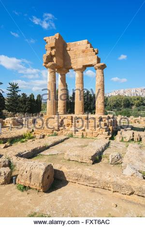 Temple of Castor, Valley of the Temples, Agrigento, Sicily, Italy - Stock Photo