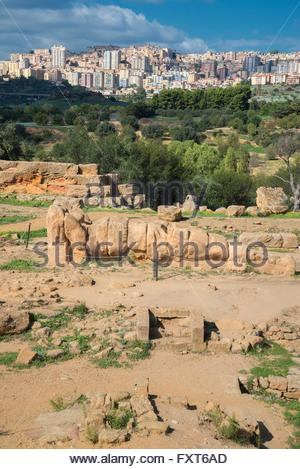 Atlas statue, Valley of the Temples, Agrigento, Sicily, Italy - Stock Photo
