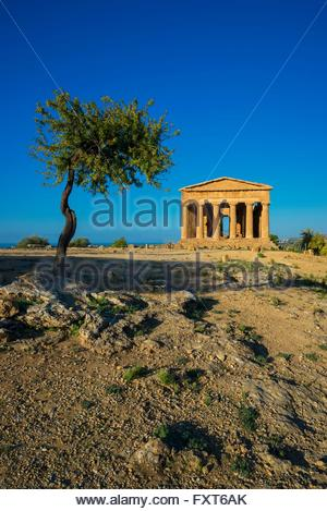 View of the Temple of Concordia, Valley of the Temples, Agrigento, Sicily, Italy - Stock Photo