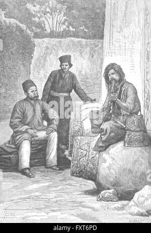 IRAN: Persian dress-Nobleman, Dervish Mendicant, antique print c1885 - Stock Photo