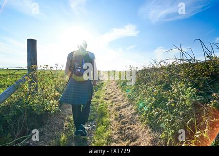 Rear view of hiker with backpack hiking on path in field - Stock Photo
