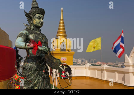 Statue Golden Mount Wat Saket Bangkok Thailand - Stock Photo