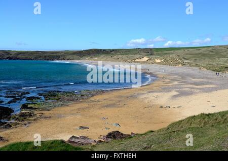 Beach at Freshwater West Pembrokeshire Coast National Park Wales - Stock Photo