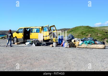 Big beach clean day at Freshwater West Pembrokeshire Coast National Park Wales - Stock Photo