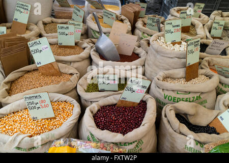 Variety of legumes for sale on the Noordermarket in Amsterdam - Stock Photo