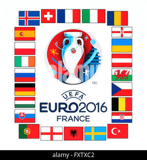 Official logo of the 2016 UEFA European Championship in France with flags of the countries participants - Stock Photo