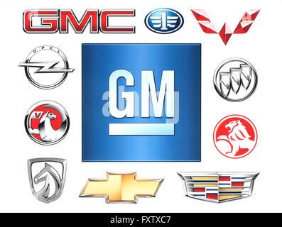 KIEV, UKRAINE - February 1, 2016:Brands of General Motors Company printed on paper - Stock Photo