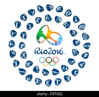 Kiev, Ukraine - March 12, 2016: Official logo of the 2016 Summer Olympic Games with kinds of sport in Rio de Janeiro, - Stock Photo