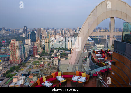 Bangkok Cityscape at twilight as sen from the Red Sky Bar,360-degree panoramic vistas from its 55th floor, - Stock Photo