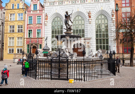 Fontanna Neptuna in Gdansk at Dlugi Targ Street, Neptunes Fountain at the Long Market, historic monument construction, - Stock Photo