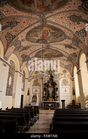 Kaplica Mariacka and pews rows, Mariacka Chapel in Gdansk Oliwa Archcathedral Basilica of The Holy Trinity, Blessed - Stock Photo