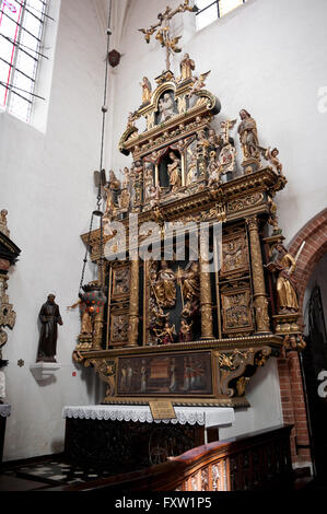 Annunciation altar in north aisle, Oltarz zwiastowania in Gdansk Oliwa Archcathedral Basilica of The Holy Trinity, - Stock Photo