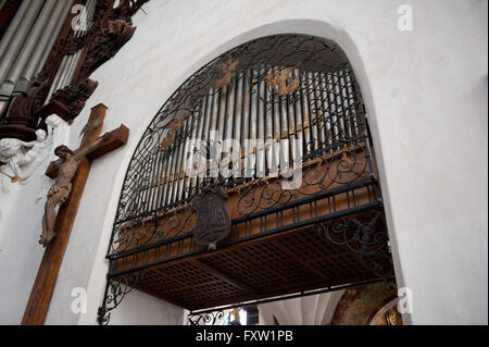 Ornate Organ in Gdansk Oliwa Archcathedral Basilica of The Holy Trinity, Blessed Virgin Mary and St Bernard, Polish - Stock Photo