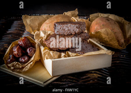 Healthy gluten free Paleo style brownies made with sweet potato, dates and almond flour - Stock Photo